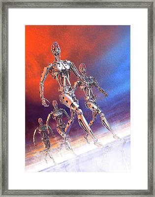 Robots Marching Framed Print