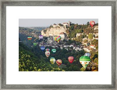 Rocamadour Midi-pyrenees France Hot Air Balloons Framed Print by Colin and Linda McKie