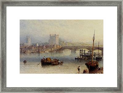 Rochester From The River Framed Print by Myles Birket Foster