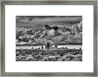 Rochester Ny Skyline In Black And White Framed Print by Tim Buisman