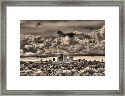 Rochester Ny Skyline In Sepia Framed Print by Tim Buisman