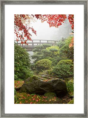 Framed Print featuring the photograph Rock And Bridge At Japanese Garden by JPLDesigns
