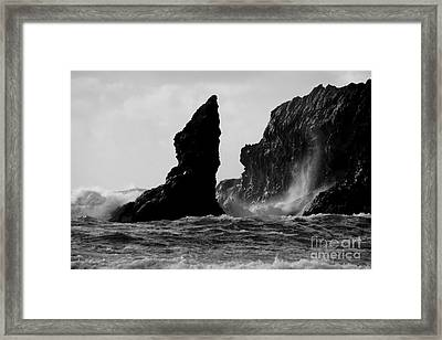 Rock And Wave Framed Print