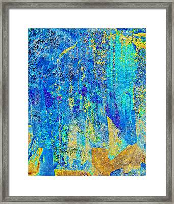 Rock Art Blue And Gold Framed Print by Stephanie Grant