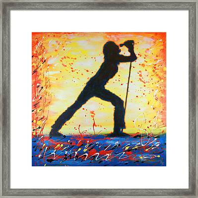 Rock Band Singer Abstract Art Framed Print by Bob Baker