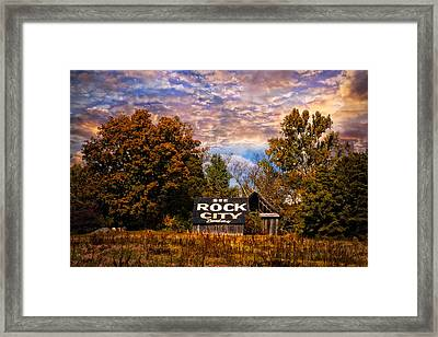 Rock City Barn Framed Print by Debra and Dave Vanderlaan