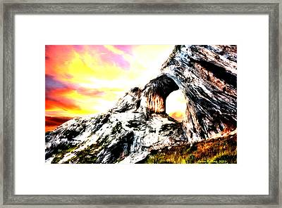 Framed Print featuring the painting Rock Cliff Sunset by Bruce Nutting