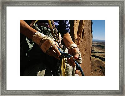 Rock Climber Becky Halls Wrapped Hands Framed Print by Bill Hatcher
