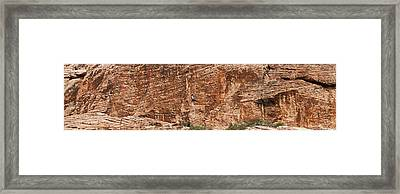 Rock Climber Climbing A Rock, Red Rock Framed Print by Panoramic Images