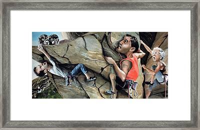 Rock Climbers Framed Print by Denny Bond