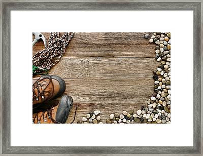 Rock Climbing Background Framed Print by Olivier Le Queinec