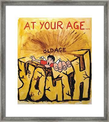 Rock Climbing Cartoon Framed Print