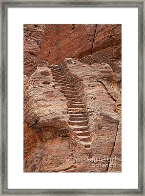 Rock Cut Stairway Of The Street Of Facades Petra Jordan Framed Print by Robert Preston