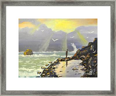 Framed Print featuring the painting Rock Fishing At Wombarra  by Pamela  Meredith