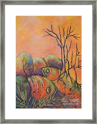Framed Print featuring the painting Rock Fishing by Lyn Olsen