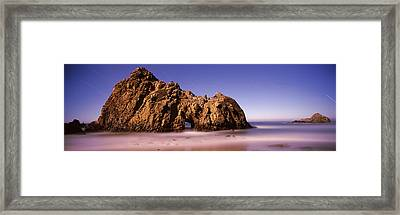 Rock Formation On The Beach, One Hour Framed Print by Panoramic Images