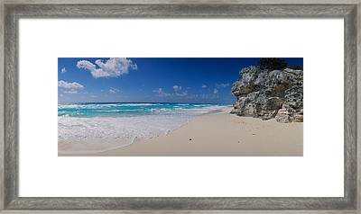 Rock Formation On The Coast, Cancun Framed Print by Panoramic Images