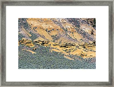Rock Formations And Sagebrush Framed Print by Michael Russell