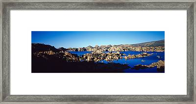 Rock Formations At Lake, Granite Dells Framed Print by Panoramic Images