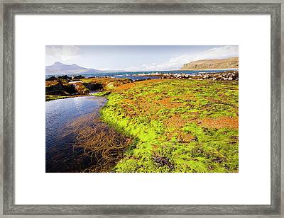 Rock Formations At The Bay Of Laig Framed Print