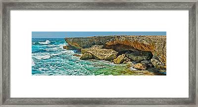 Rock Formations At The Coast, Aruba Framed Print