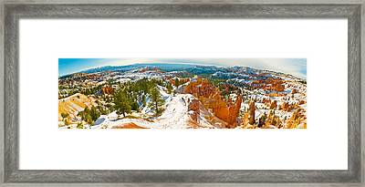 Rock Formations In A Canyon, Bryce Framed Print by Panoramic Images