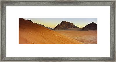 Rock Formations In A Desert, Jebel Framed Print by Panoramic Images