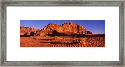 Rock Formations In A Desert, Jebel Um Framed Print