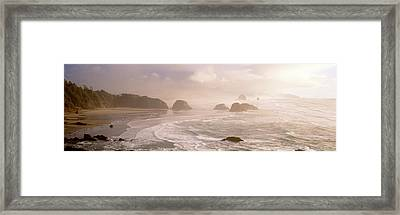 Rock Formations In The Ocean, Ecola Framed Print by Panoramic Images