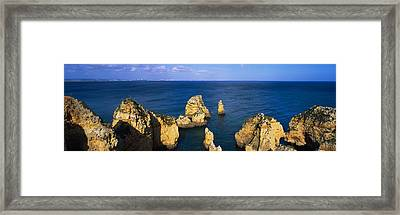 Rock Formations In The Sea, Algarve Framed Print