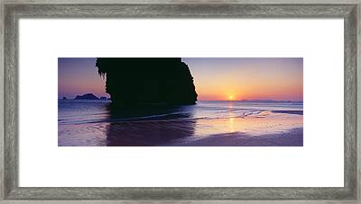 Rock Formations In The Sea At Dusk Framed Print by Panoramic Images