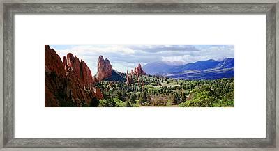 Rock Formations On A Landscape, Garden Framed Print