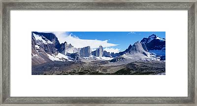 Rock Formations On A Mountain Range Framed Print