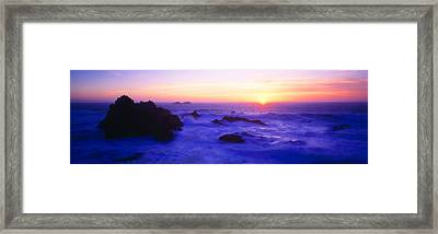 Rock Formations On Coast At Sunset Framed Print
