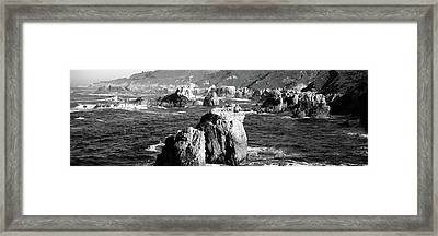 Rock Formations On The Beach, Big Sur Framed Print