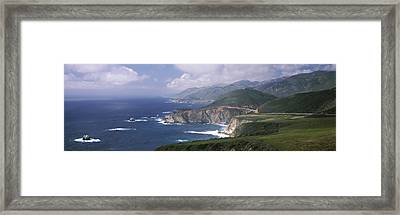 Rock Formations On The Beach, Bixby Framed Print by Panoramic Images