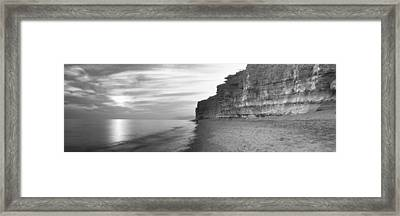 Rock Formations On The Beach, Burton Framed Print