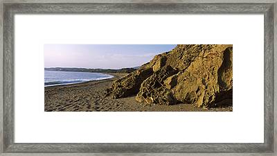 Rock Formations On The Beach, Chios Framed Print by Panoramic Images