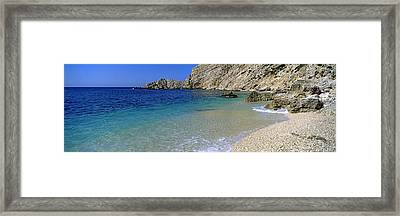 Rock Formations On The Beach, Petani Framed Print