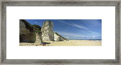 Rock Formations On The Beach, White Framed Print by Panoramic Images