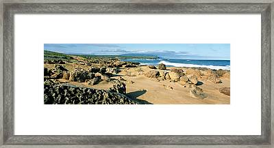 Rock Formations On The Coast, Molokai Framed Print by Panoramic Images