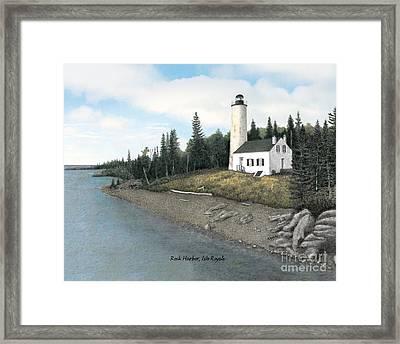 Rock Harbor Lighthouse Titled Framed Print