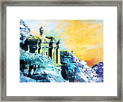 Rock Hewn Monastery Ad-deir Framed Print by Catf