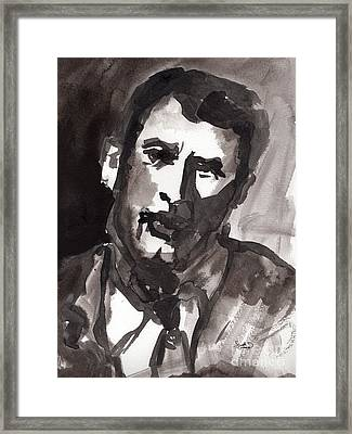 Rock Hudson Watercolor Sketch Framed Print by Ginette Callaway