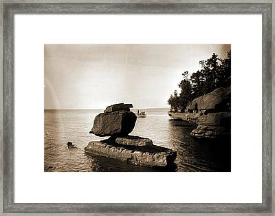 Rock In Apostle Islands, Lake Superior, Rock Formations Framed Print