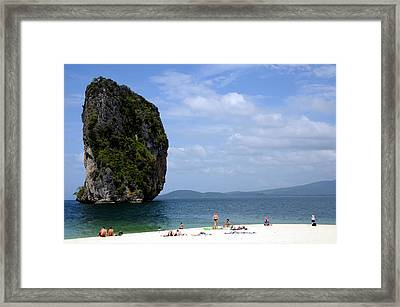 Rock In Water Framed Print by Money Sharma