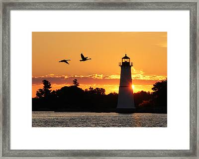 Rock Island Lighthouse Silhouettes Framed Print