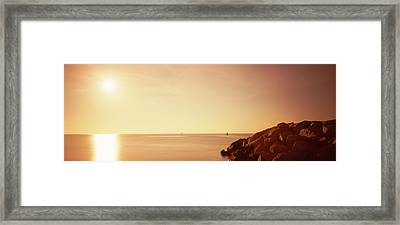 Rock Jetty Leading Into Fort Lauderdale Framed Print
