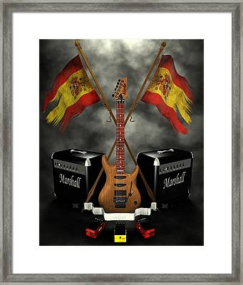 Rock N Roll Crest- Spain Framed Print by Frederico Borges
