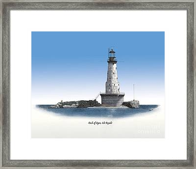 Rock Of Ages Lighthouse Titled Framed Print by Darren Kopecky